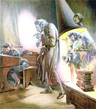 Everett Shinn, scrooge, ebenezer scrooge, ghost of christmas past,