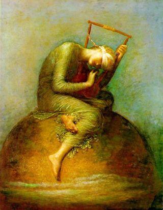 george frederick watts, hope, painting, string, lyre, tate, london, despair