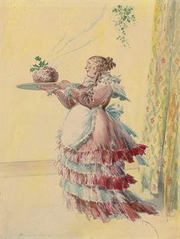 Everett Shinn, Bringing in the Dessert, christmas pudding, mrs. cratchit,