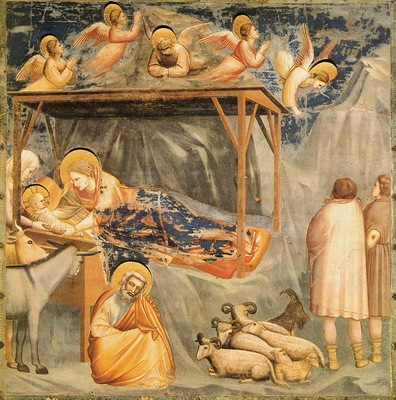 Nativity, Giotto Scrovegni, shepherds, stable, donkey, sheep, angels