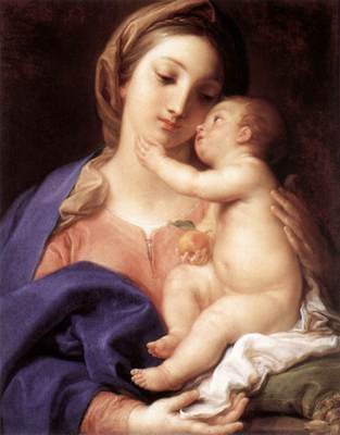 Madonna and Child; BATONI-Pompeo, swaddling, swaddling clothes, mary and baby jesus, baby jesus