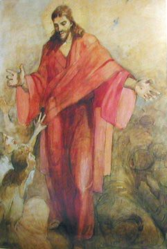 Christ in a red robe, minerva teichert, nail prints, resurrected, lord, prints in his hands, jesus christ,