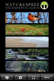 Naturespace, app, 3D sounds, 3D, 3-D, rain, thunder, waves, ambient noise, nature sounds